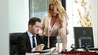 Busty office secretary gangbanged over the table
