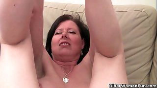 British mama julie with her large bazookas and unshaved bawdy cleft acquires finger screwed