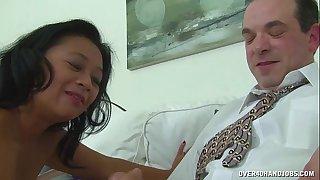 Asian older masseuse ramrod treatment