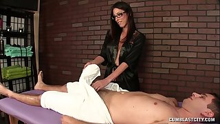 Hot brunette hair masseuse causes a large spunk fountain