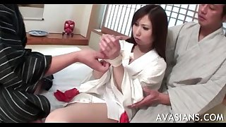Shy oriental BBC slut receives her bawdy cleft widen wide by some strangers
