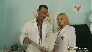 Blonde hot nurse rides weenie