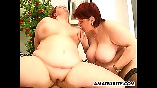 two hawt overweight dilettante milf in a 3some with facial