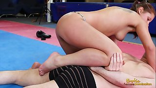 Angel rivas beating loser throughout the gym in boxing gloves