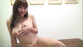 Busty, sexy japanese horny white wife in playsuit & toys