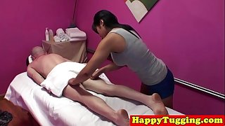 Asian masseuse in cook jerking threeway