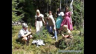 Wild german mountain orgy