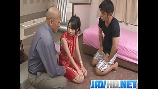 Steamy porn act along japanese doll with 2 excited studs