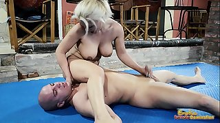 Nude mixed wrestling fight with a cook jerking