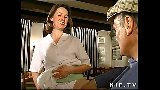 French brunette hair screwed in three-some in a restaurant with papy voyeur