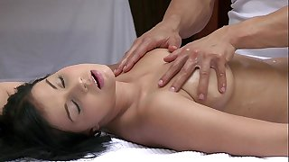 Orgasms charming youthful BBC slut has her hot body massaged and gratified by hawt stud