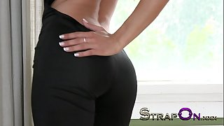 Strapon super hawt master chick pegging boy-friend after sex for gspot agonorgasmos whilst that guy cums