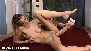 European golden-haired denise plugged by 2 large brutal dildos