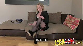 Fakeagentuk stocking clad posh milf ready to try it all on the casting bed