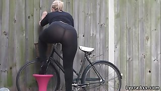 Sexy large wazoo in transparent lycra leggings tights & belt
