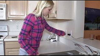 Cute legal age teenager cook jerking in the kitchen