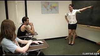 Punishment tugjob in the classroom