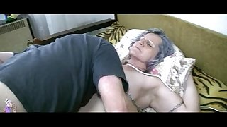 Old granny acquire vagina licked by youthful man