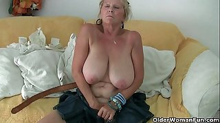 Grandma with large mambos masturbates and acquires finger screwed