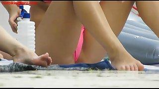 Hot bikiniteens with micro belts tanning