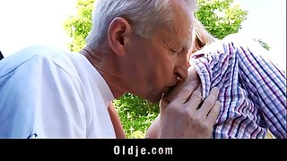 Lucky old man copulates hot teenager blond in a van