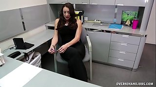 Naughty boss wishes some cock juice brunette hair