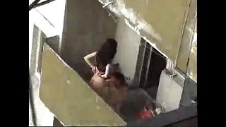 Spy episode of next door cheating white bitch fucking on the balcony