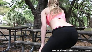 Therealworkout fit golden-haired lexi davis pounded and facialized after workout