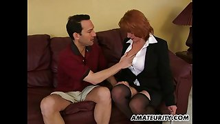 Busty non-professional milf sucks and copulates with ejaculation