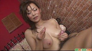 Ren mizumori in bikini giving oral stimulation and 10-Pounder humping