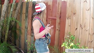 Great wazoo legal age teenager girlfriend bonks outdoors pov