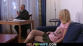 Old stud pays him to fuck his juvenile housewife