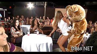 Girls engulfing obscene ramrod of disrobe dancer