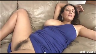 Busty milf tugjob and cookie rubbing