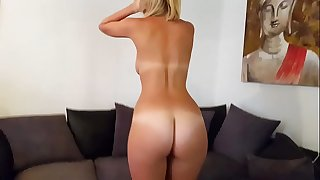 Hot brit isla white bonks sex tool and performs jerk off instruction and cei