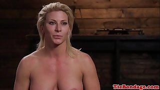 Blonde s&m sub whipped untill that babe squirts