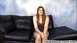 Face drilled redhead slut rose red pukes on two weenies