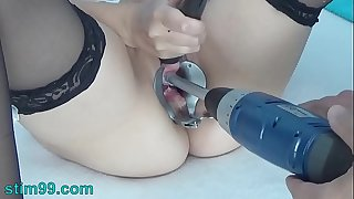 Peehole play with drilldo and bladder filled with cum and piddle