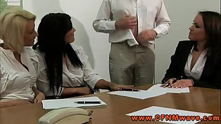 Cfnm femdom office skanks wish to watch chap jerk