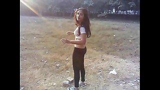 Sexy desi indian white women excercise - boob show - full clip