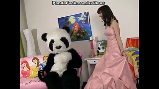Young fairy revived toy panda and engulf