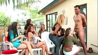 Watch cfnm loser acquire head at femdom party