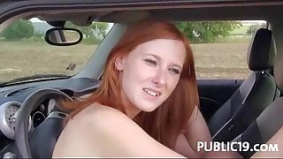 Nasty honey picked up for public sex