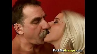 Stunning blond drilled by messy old chap