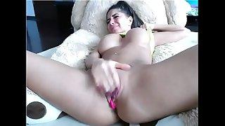 Busty hottie with great gazoo masturbating 2