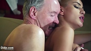 Old dude dominated by hot hawt sweetheart in old youthful femdom hardcore fucking