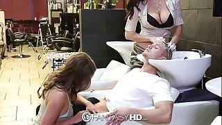 Fantasyhd - honeys lily and holly have 3some at beauty salon