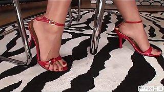Intense interracial foot fucking porn with leggy babes Jasmine Webb &_ C.J.