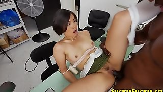 Asian bush-league doggystyled wits big lowering cock