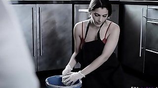 Poor European housemaid Valentina Nappi sober-sided to adumbrate a cock scrub with her mouth!